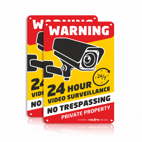 NGLIFE 2-Pack 24 Hour Private Property Video Surveillance Sign, No Trespassing Aluminum Warning Sign, 10x7 inch CCTV Security Camera, UV Protected & Waterproof Indoor/Outdoor Use for Home Business