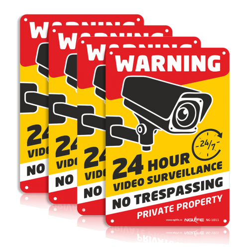 NGLIFE 4-Pack 24 Hour Private Property Video Surveillance Sign, No Trespassing Aluminum Warning Sign, 10x7 inch CCTV Security Camera, UV Protected & Waterproof Indoor/Outdoor Use for Home Business