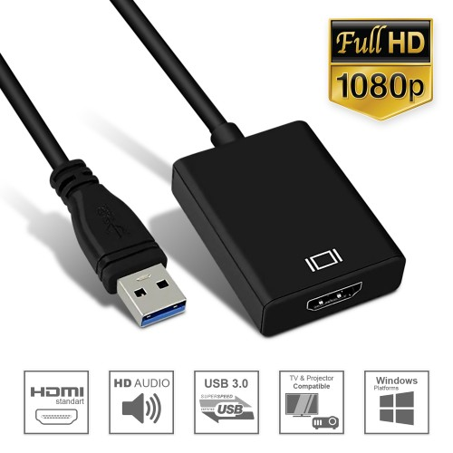 NGLIFE USB 3.0 to HDMI Adapter - with Audio Output Multiple Monitors HD 1080P Video USB Type A Cable for Laptop HDTV TV PC with Windows XP / 10/8.1/8 / 7 [ NO MAC & Vista ]