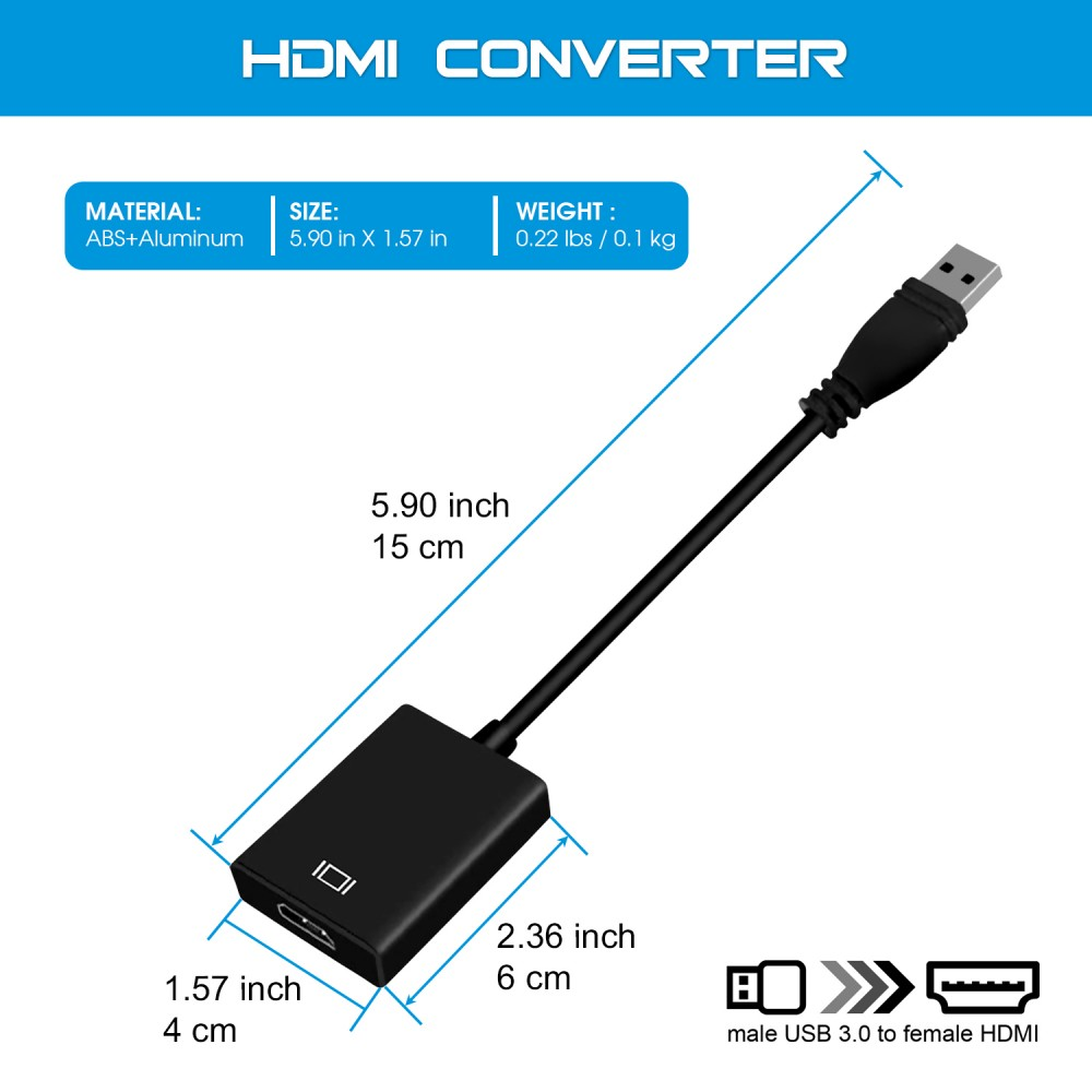 NGLIFE USB 3 0 to HDMI Adapter - with Audio Output Multiple Monitors HD  1080P Video USB Type A Cable for Laptop HDTV TV PC with Windows XP /  10/8 1/8