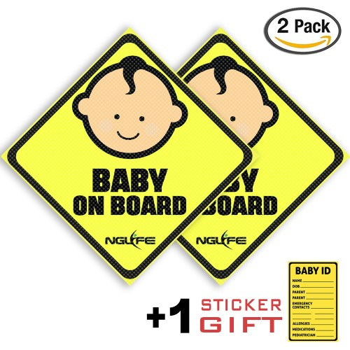 NGLIFE Best See-Thru Baby On Board Car Safety Sticker - Decals Unobstructed View, Stays On, Works with Tinted Window, Removable and Will Not Fade - Gift Baby ID Sticker (Pack of 2)